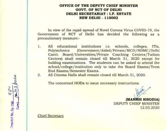 HEALTH ALERT - COVID 19 - COLLEGE CLOSED AS PER DELHI GOVT. DIRECTIVES - 12.03.2020